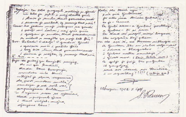 Završetak autografa libreta Janka Polića Kamova