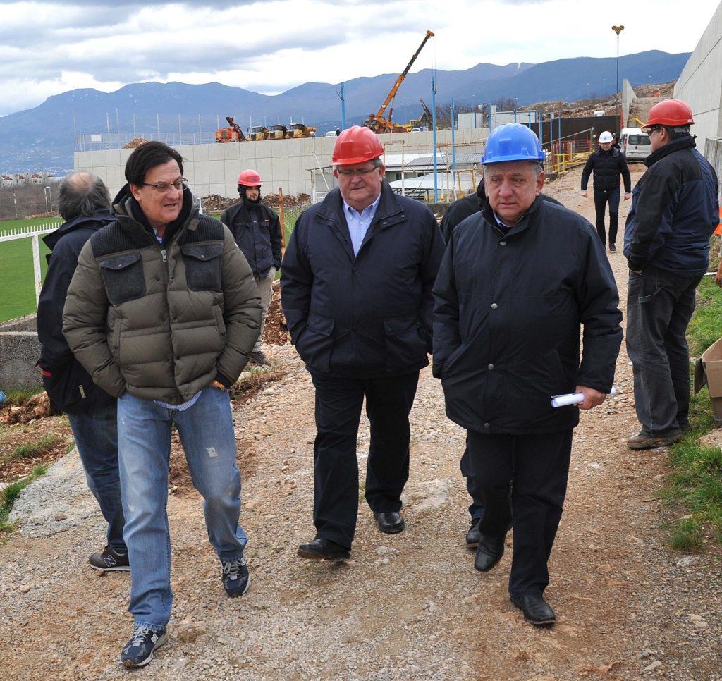 Damir Mišković, Vojko Obersnel i Josip Purić na gradilištu stadiona na Rujevici 2015. / FOTO IVICA TOMIĆ