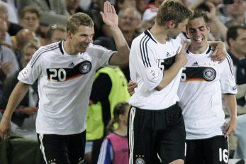 Philipp Lahm, Thomas Hitzlsperger i Lukas Podolski/Foto REUTERS