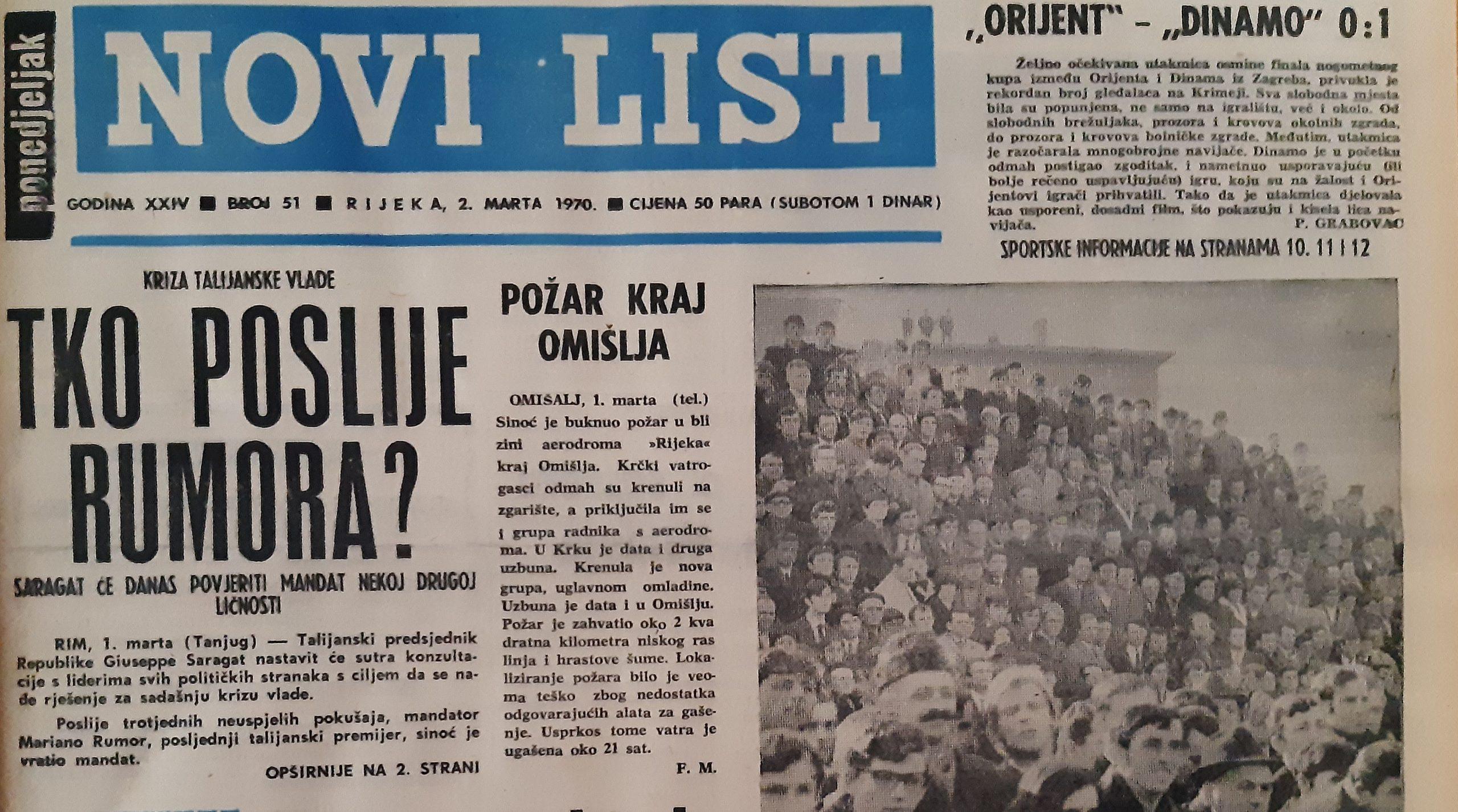 Ovako je izgledala naslovnica Novoga lista početkom ožujka 1970. godine