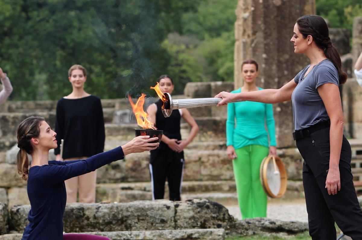 Proba ceremonije paljenja olimpijskog plamena za ZOI 2022./Foto: REUTERS